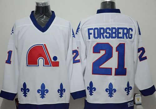 Nordiques #21 Peter Forsberg White CCM Throwback Stitched NHL Jersey